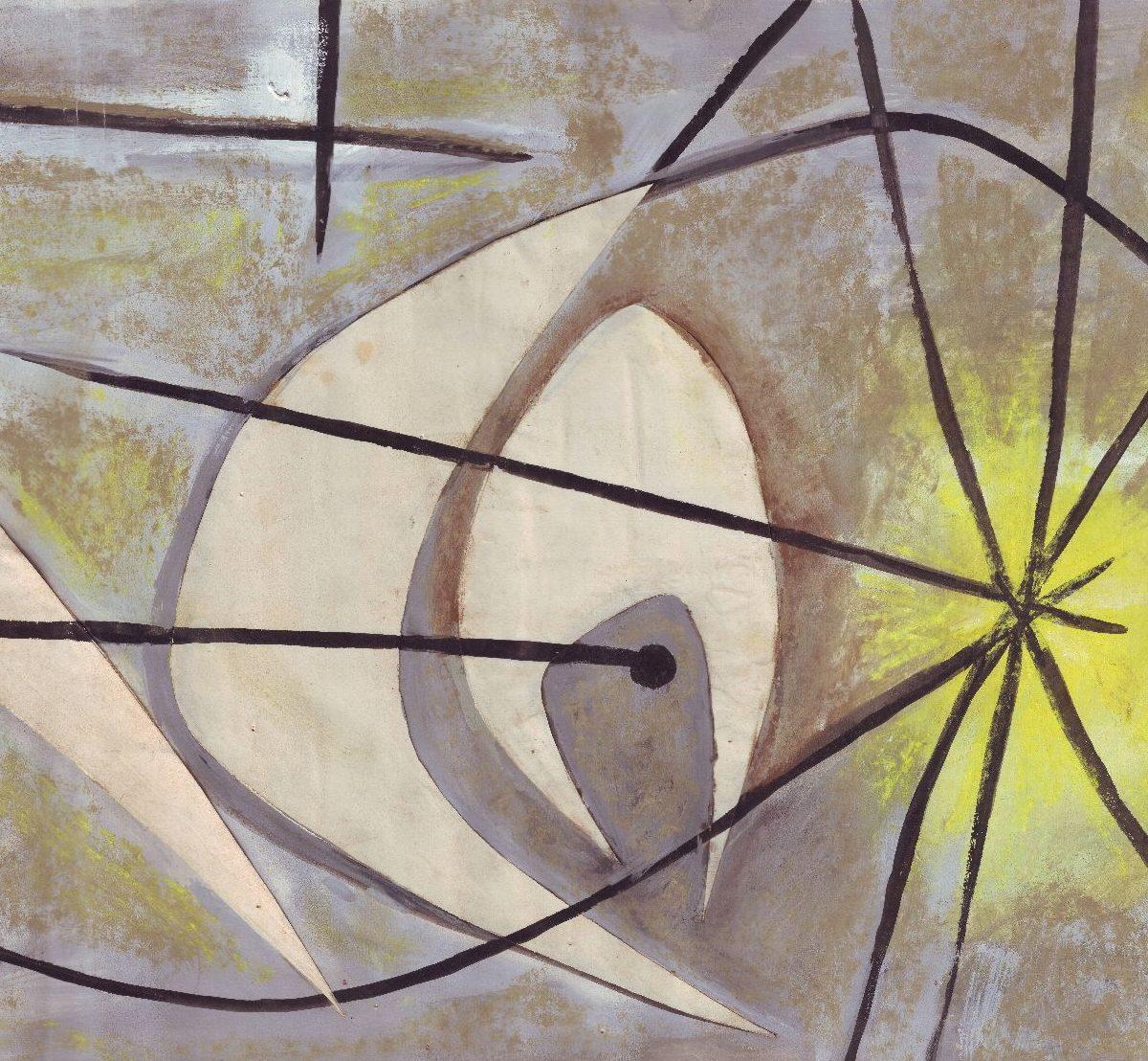 André Borderie, Projet pour un mur en céramique, c. 1950, gouache sur papier et papiers collés, 11x63 cm